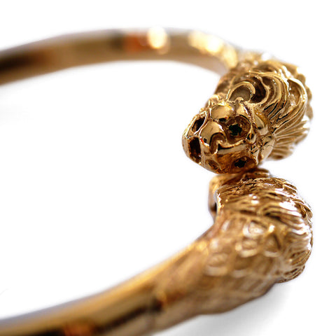 Gold Glorious Gold: 1980s Double Headed Lion Torque Bangle