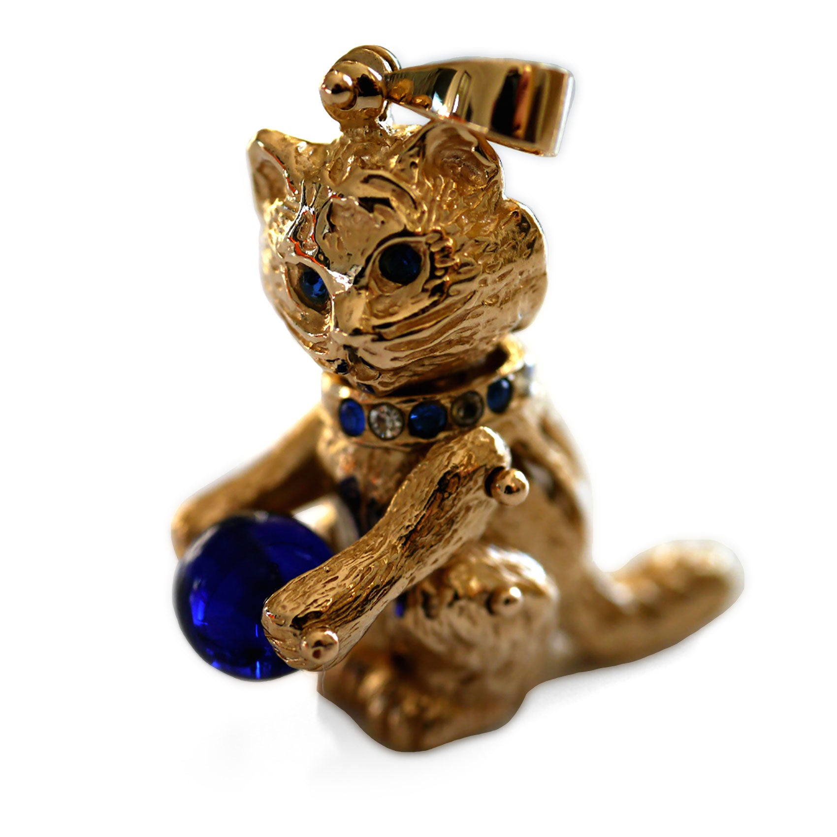 Articulated 1990s Gold Cat Pendant