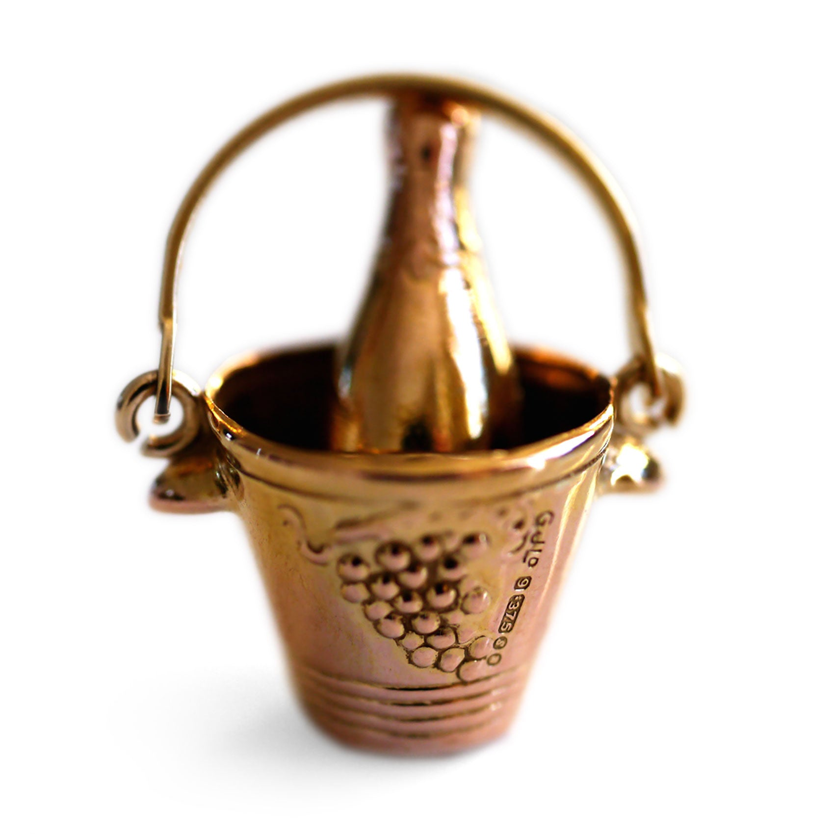 Gold Glorious Gold: 1970s Champagne Bottle & Bucket Pendant