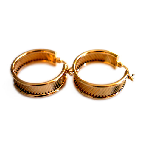 Gold Glorious Gold: Ridged Hoops