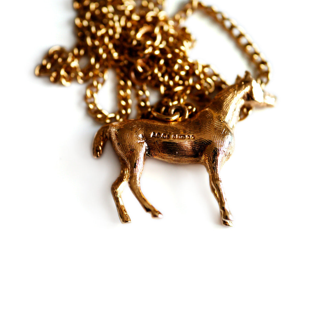 Vintage Jewellery 1970s Gold Horse Necklace