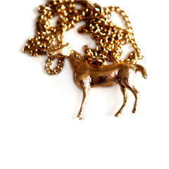 1970s Vintage Gold Horse Necklace