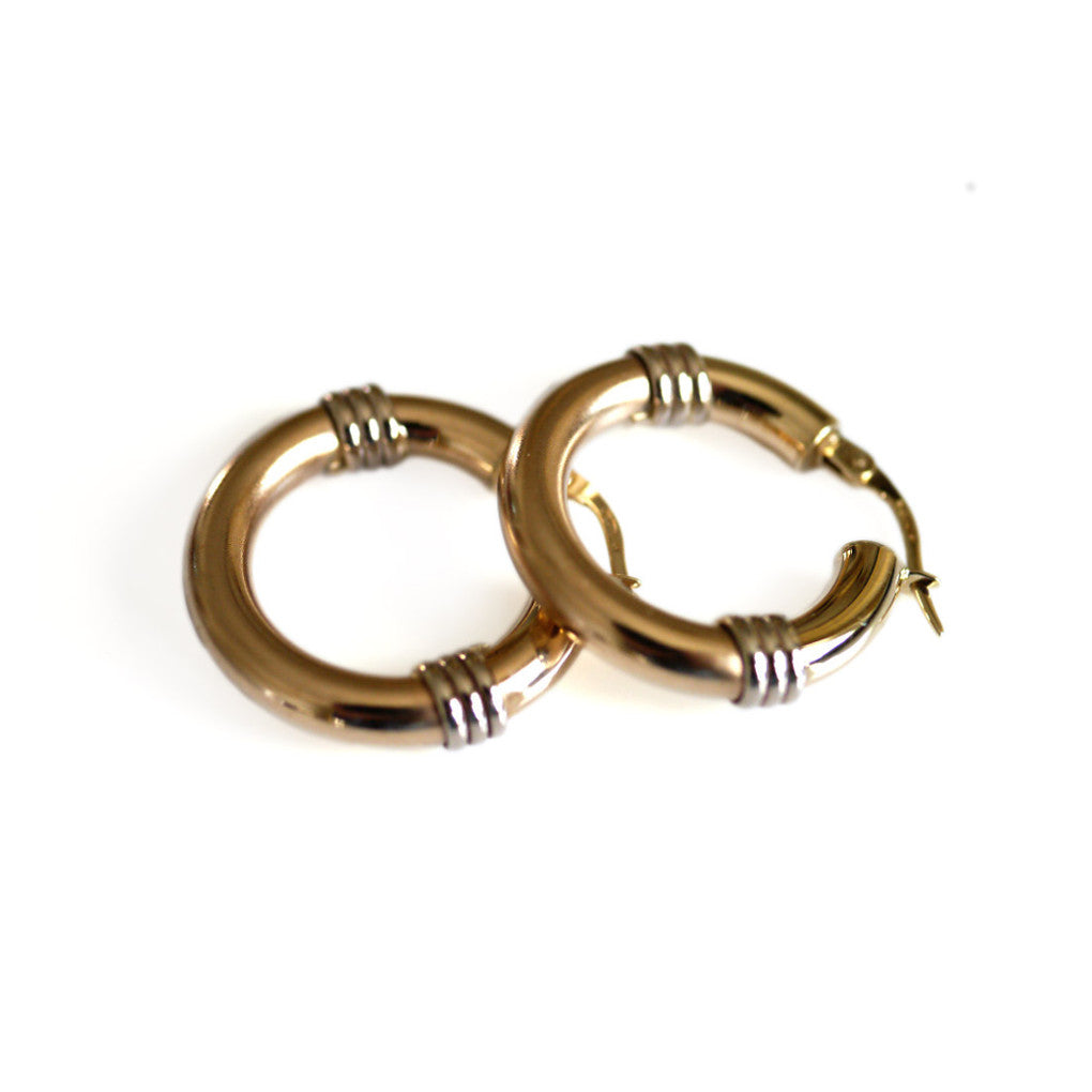 Gold Glorious Gold: Tri Ringed Medium Hoops