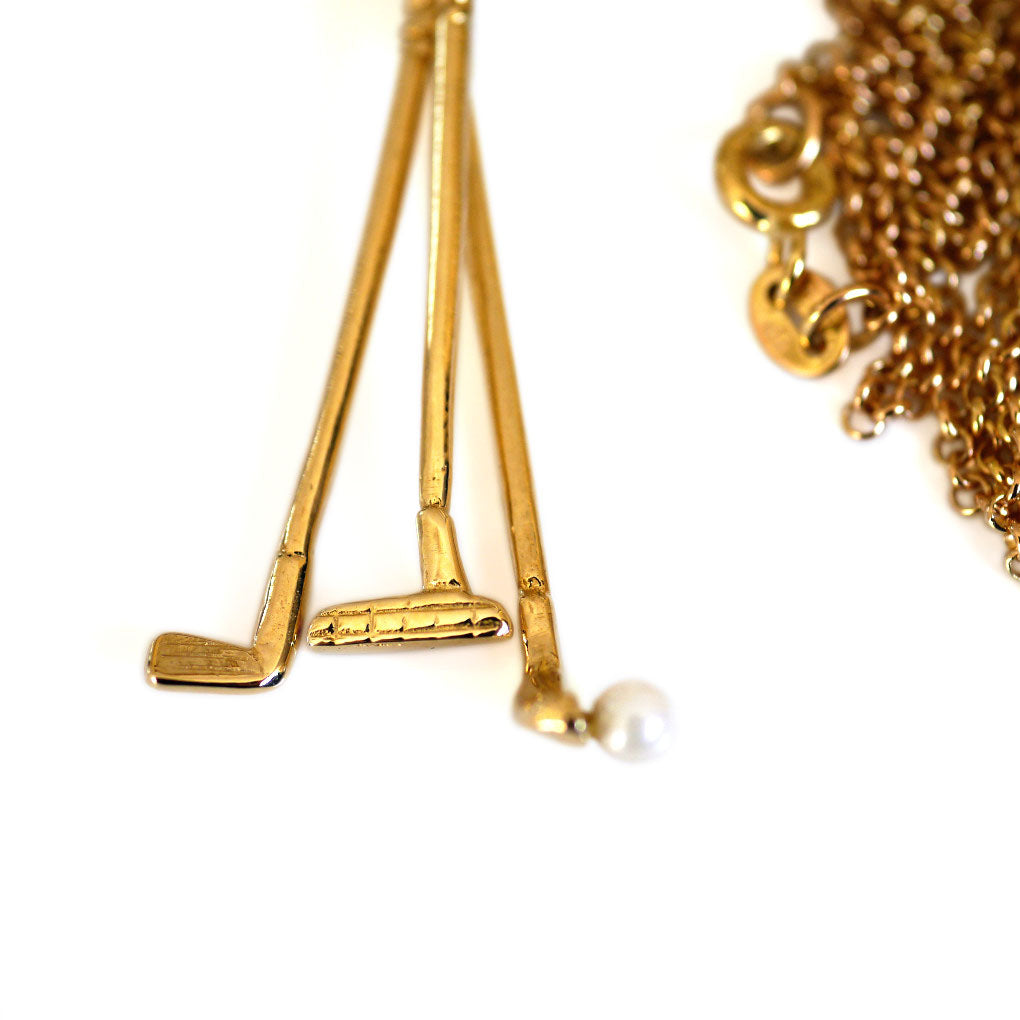 1973 Gold & Pearl Golf Clubs Necklace