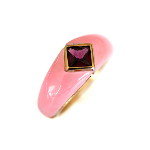 Vintage Pink Jadeite and Pink Garnet Gold Ring