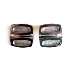 Vintage Silver 1970s Abstract Cufflinks