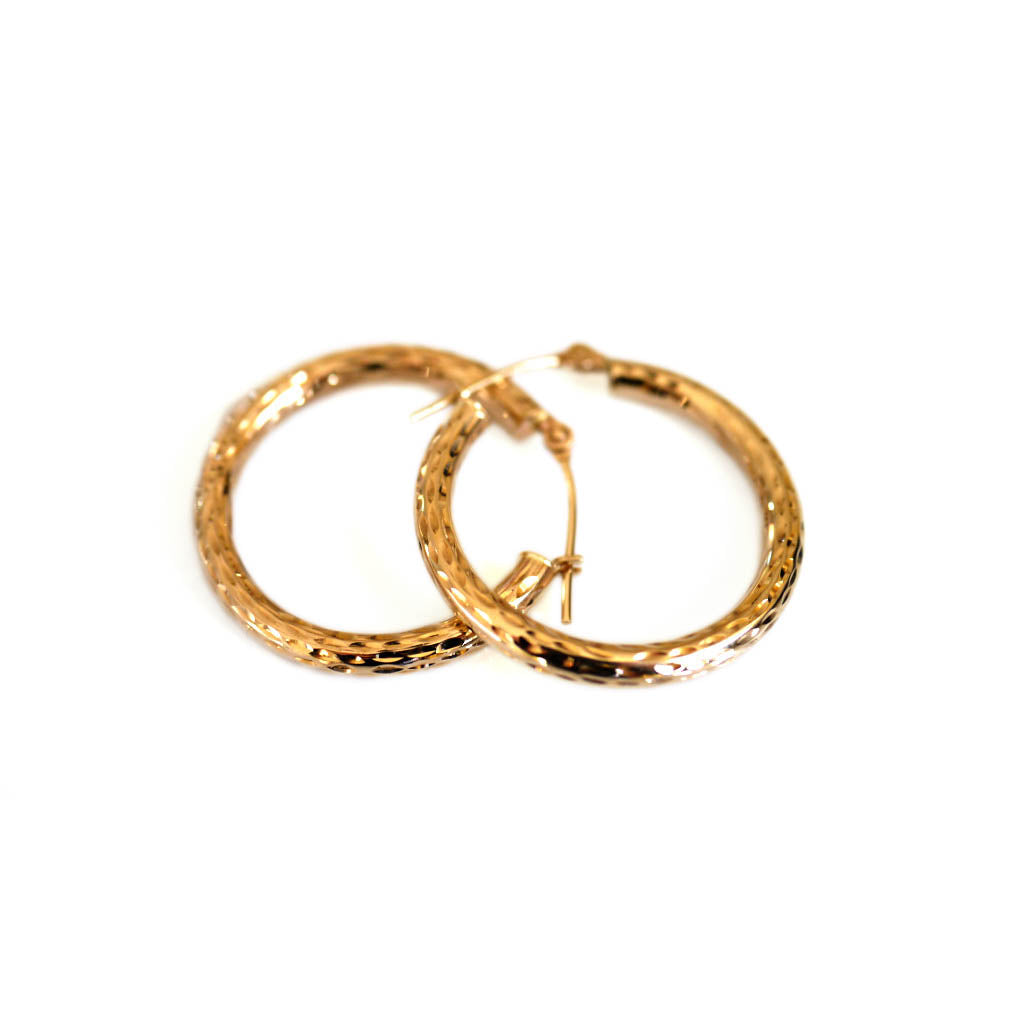 Gold Glorious Gold: Large Diamond Etched Hoops