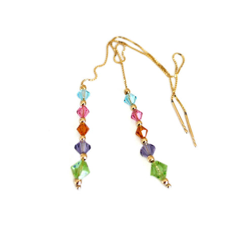 Vintage Crystal Rainbow Drop Earrings