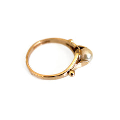 Gold Vintage Pearl Dress Ring 1980s