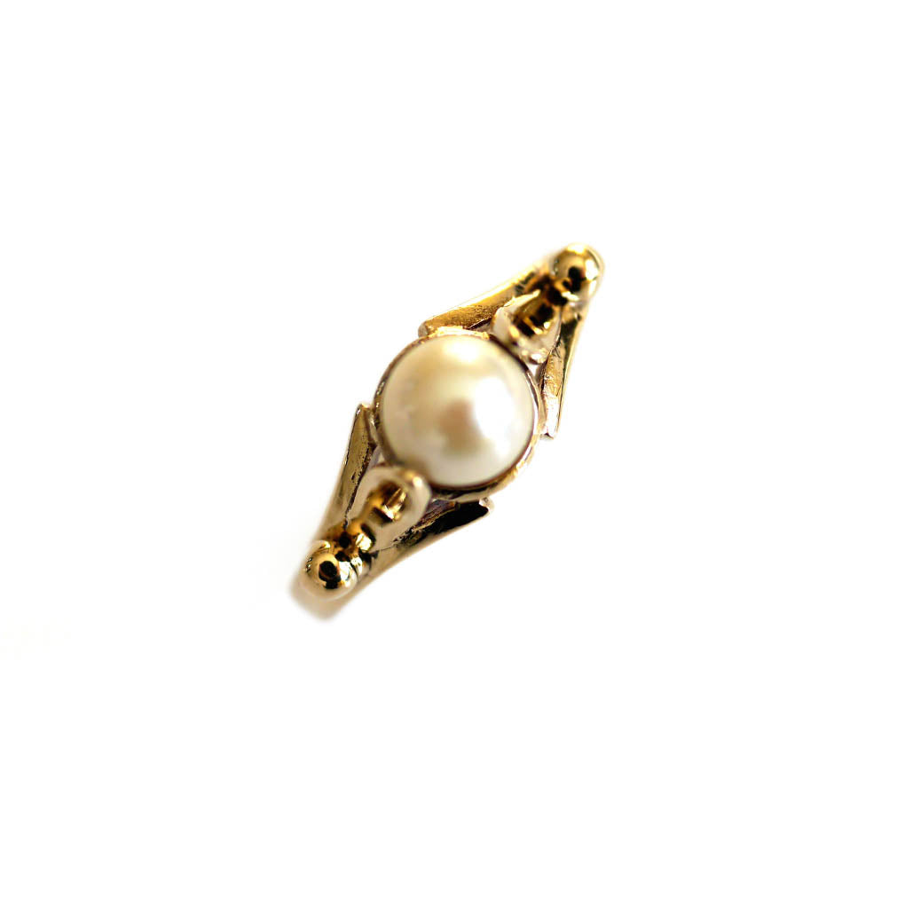1980s Pearl Vintage Gold Ring