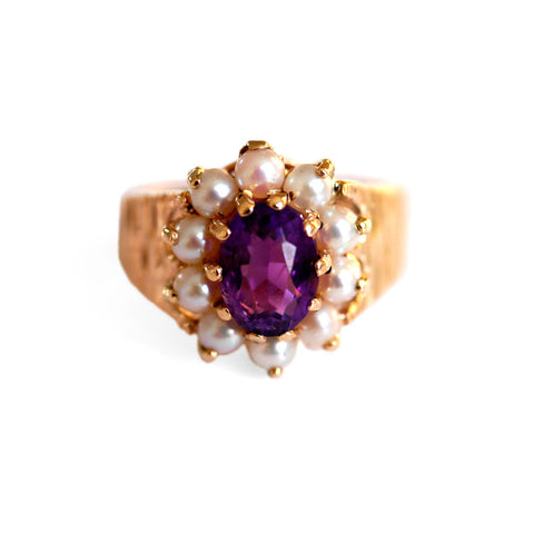 Amethyst & Seed Pearl Dress Ring 1970s