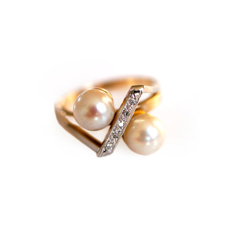 Siffari Vintage Diamond & Pearl Ring