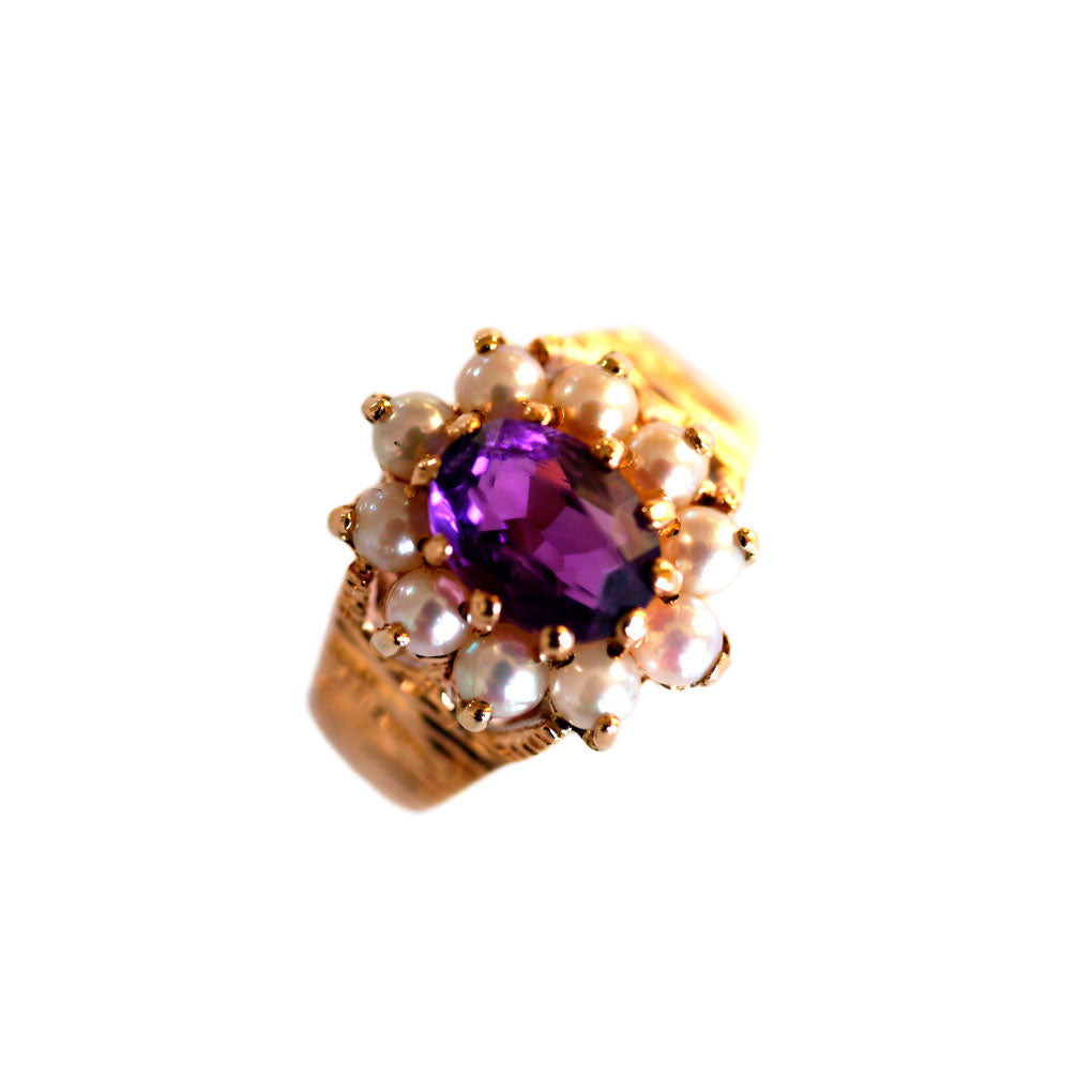 1970's Amethyst and Seed Pearl Ring