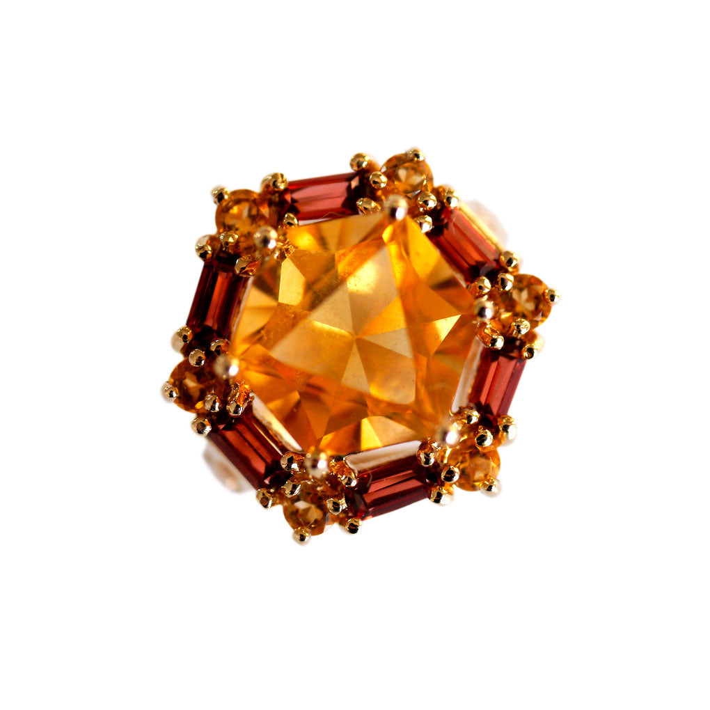 Vintage Citrine Hexagon Cocktail Ring