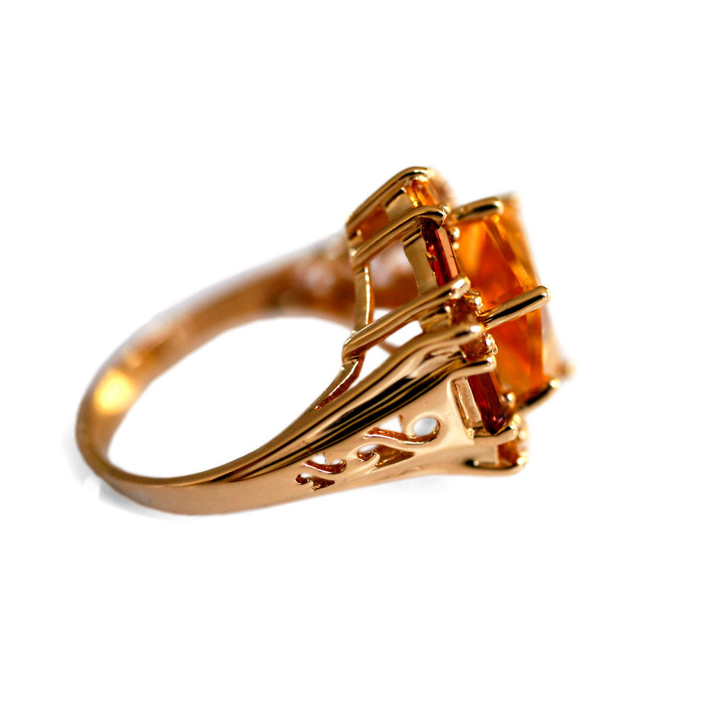 Citrine Hexagon Cocktail Ring