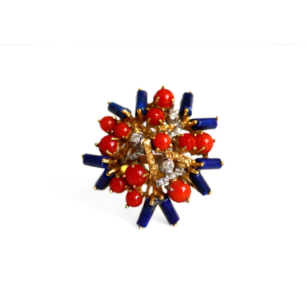 1970s Diamond, Coral and Lapis Modernist Cocktail Ring
