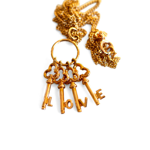Gold Glorious Gold: 1971 LOVE Keys Necklace