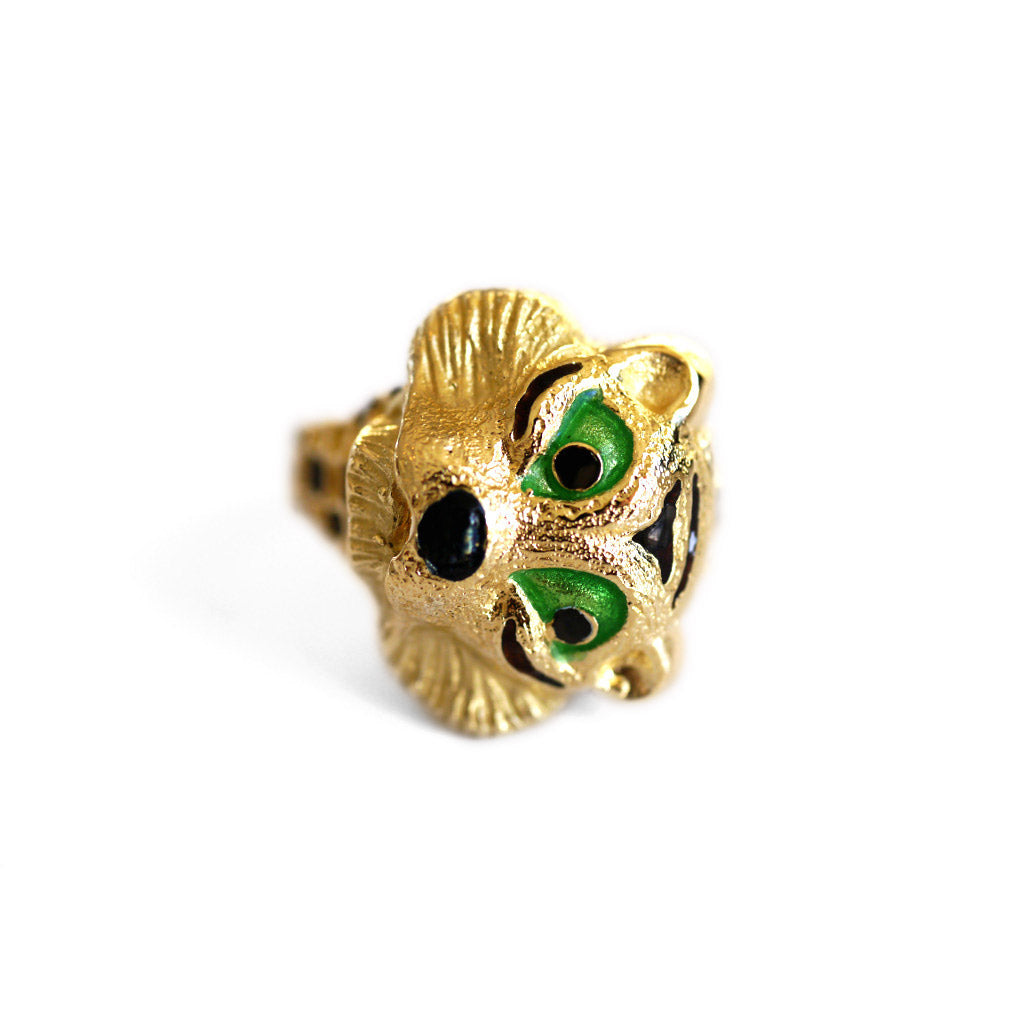Vintage Enamel Eyed Tiger Cocktail Ring