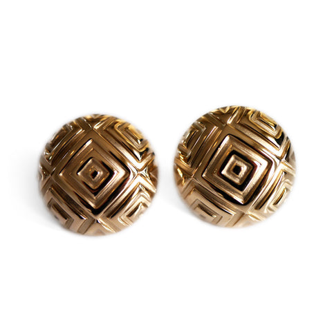 Vintage Large Button Gold Earrings