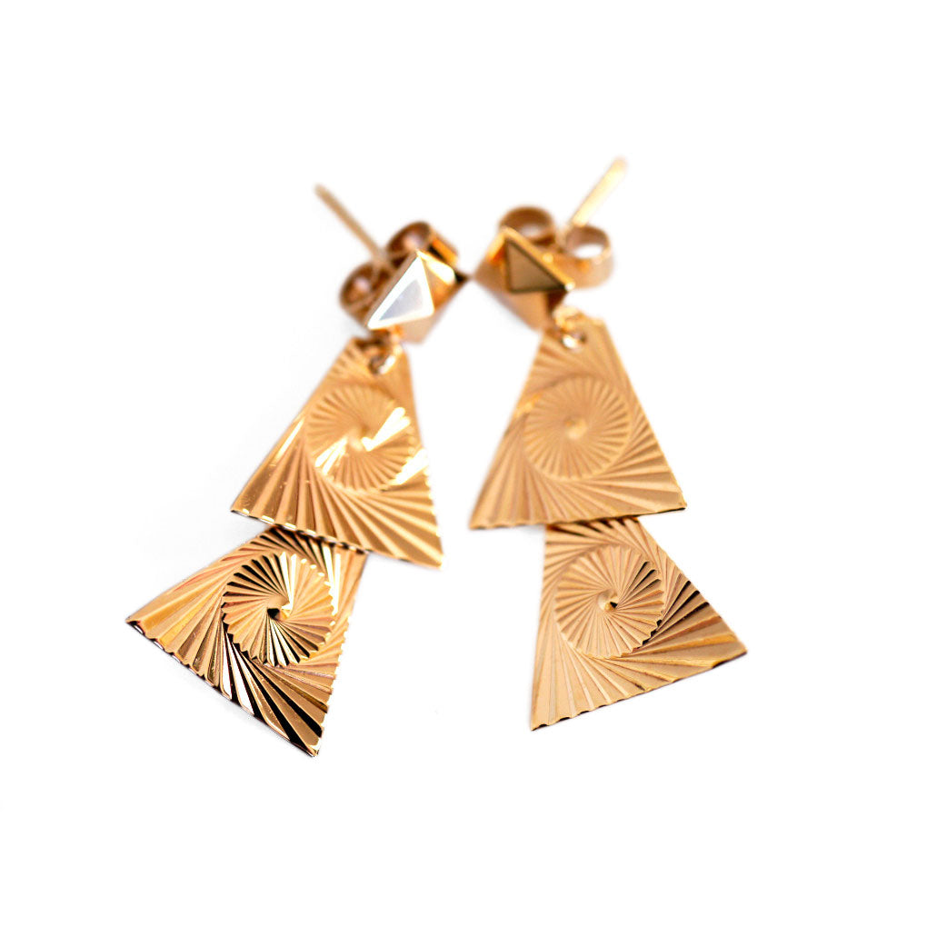 Gold Glorious Gold: Triangular Articulated Earrings