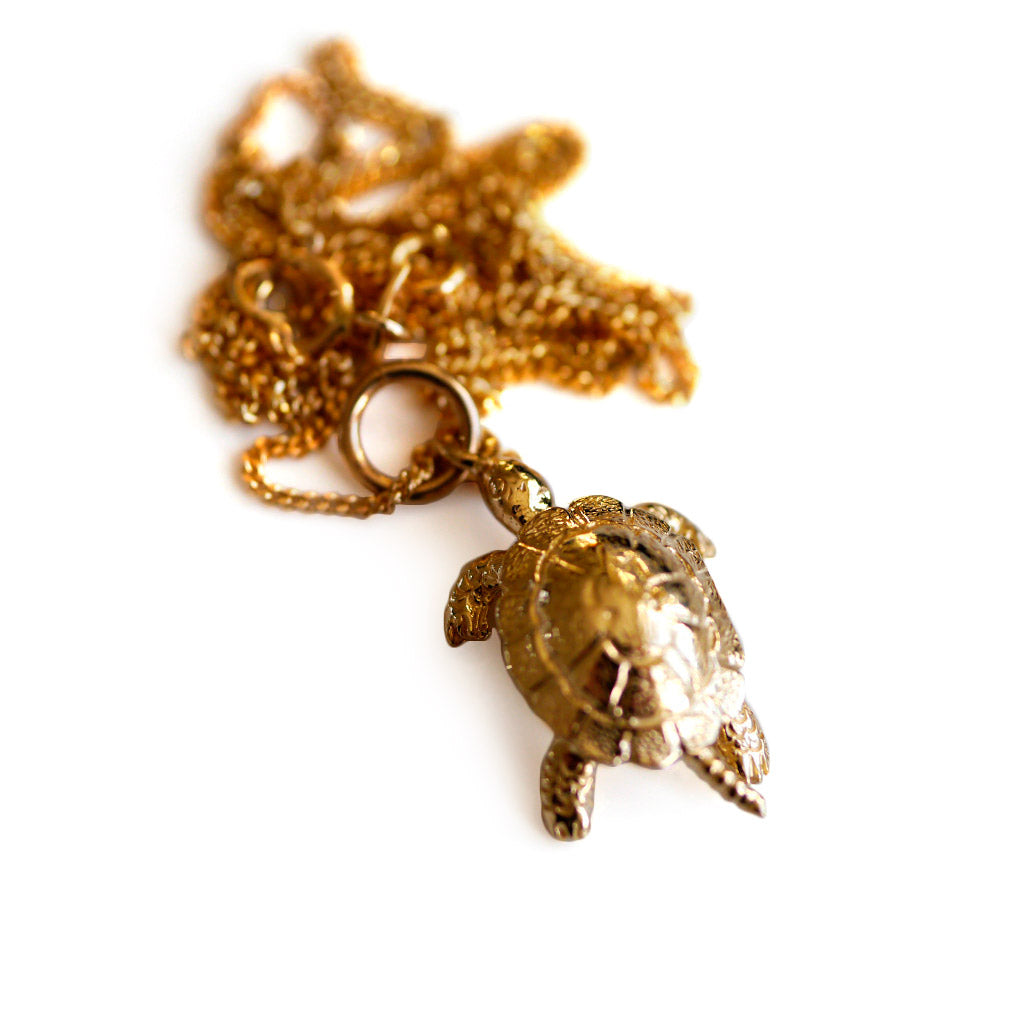 Gold Articulated Tortoise Vintage Pendant