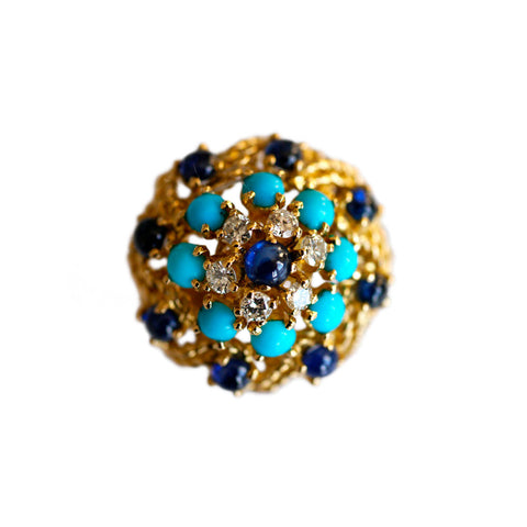 Enormous Diamond, Sapphire & Turquoise Cocktail Ring
