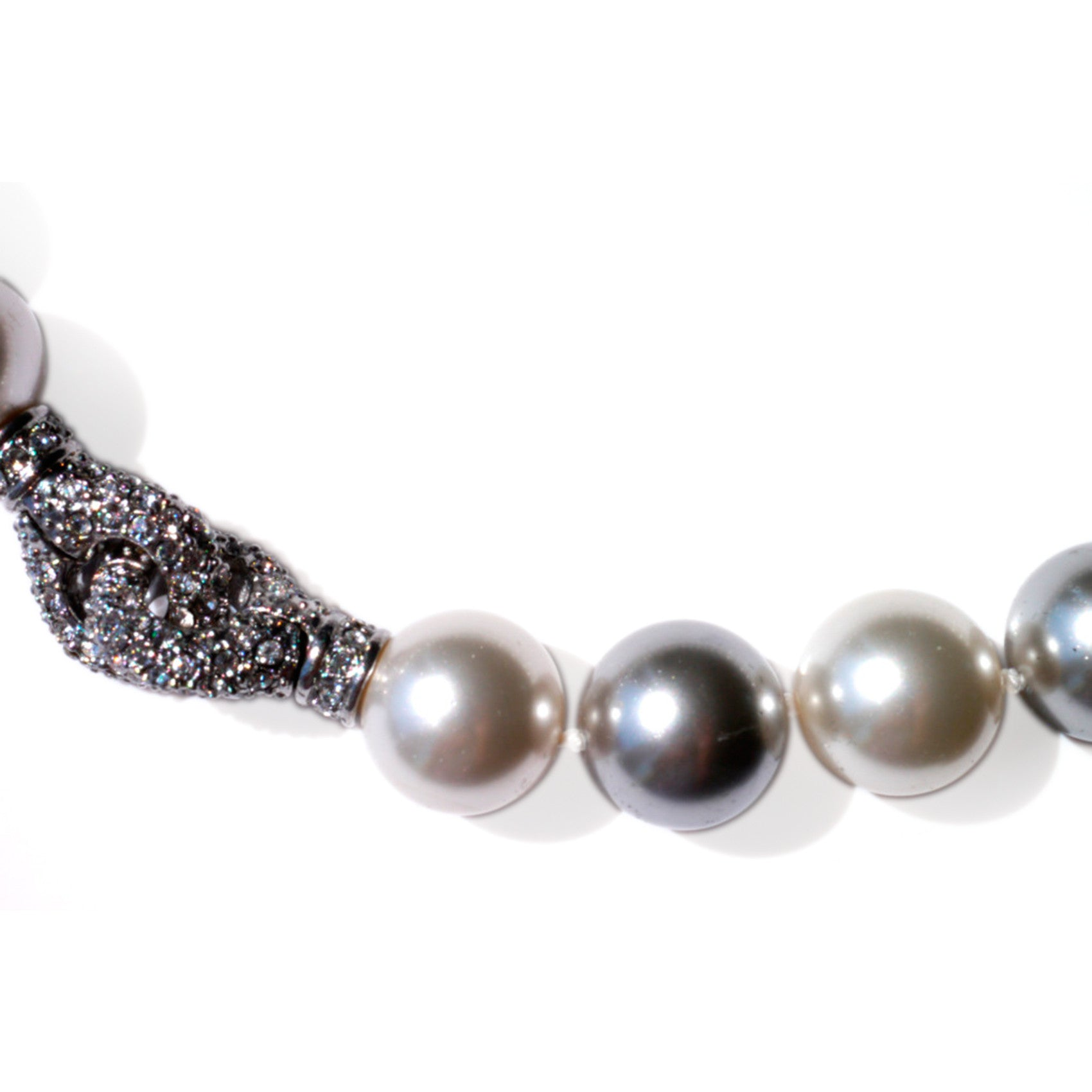 Silver Linings: Oversized Pearl Necklace (Satin White & Silver Grey)