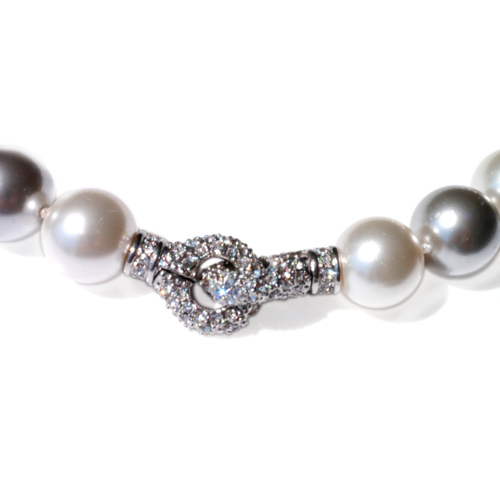 Oversized Pearl Necklace Satin White & Silver Grey