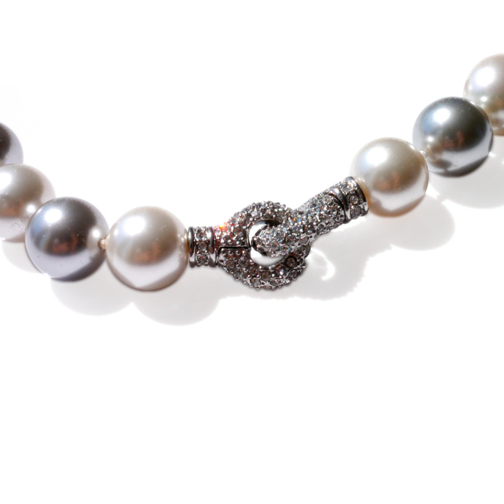 Oversized Satin White & Silver Grey Pearl Necklace