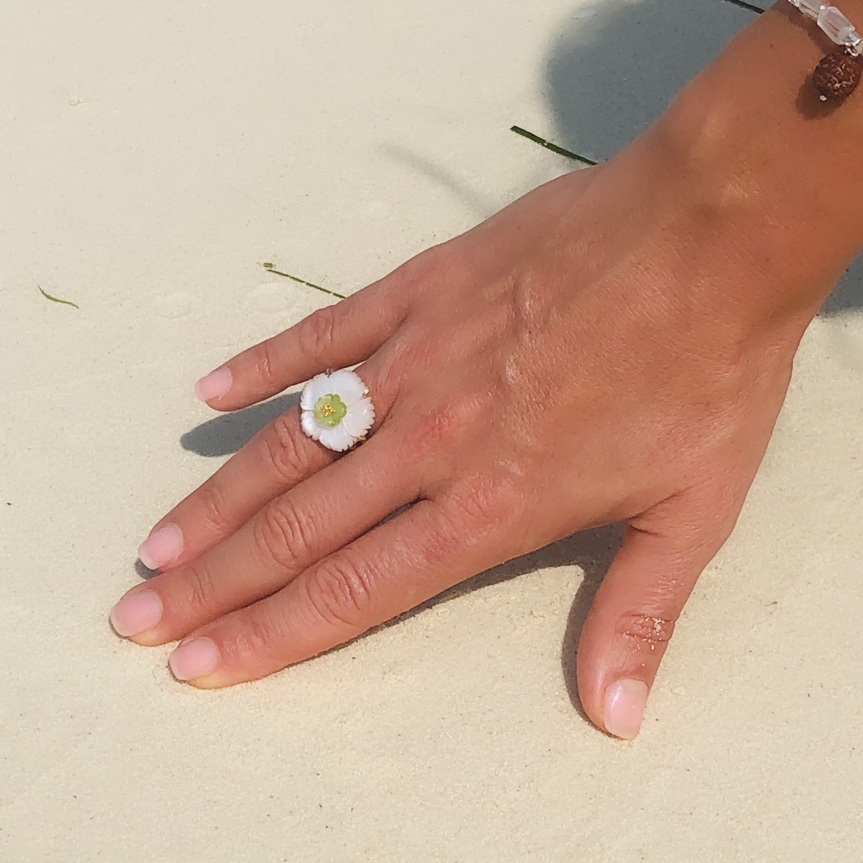 Citrine, Peridot & Mother of Pearl Flower Ring