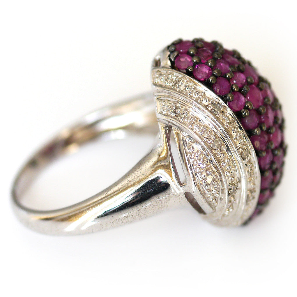 Silver Linings: Radiant Ruby Cocktail Ring
