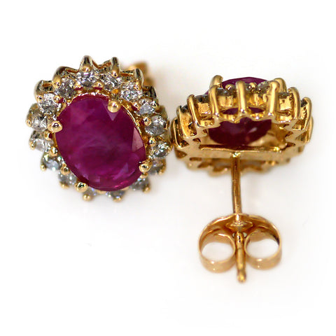 Classic Elegance: Oval Ruby and Diamond Earrings