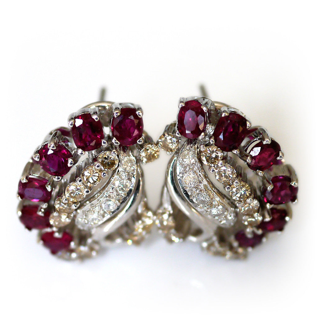 Vintage Ruby and Diamond Earrings