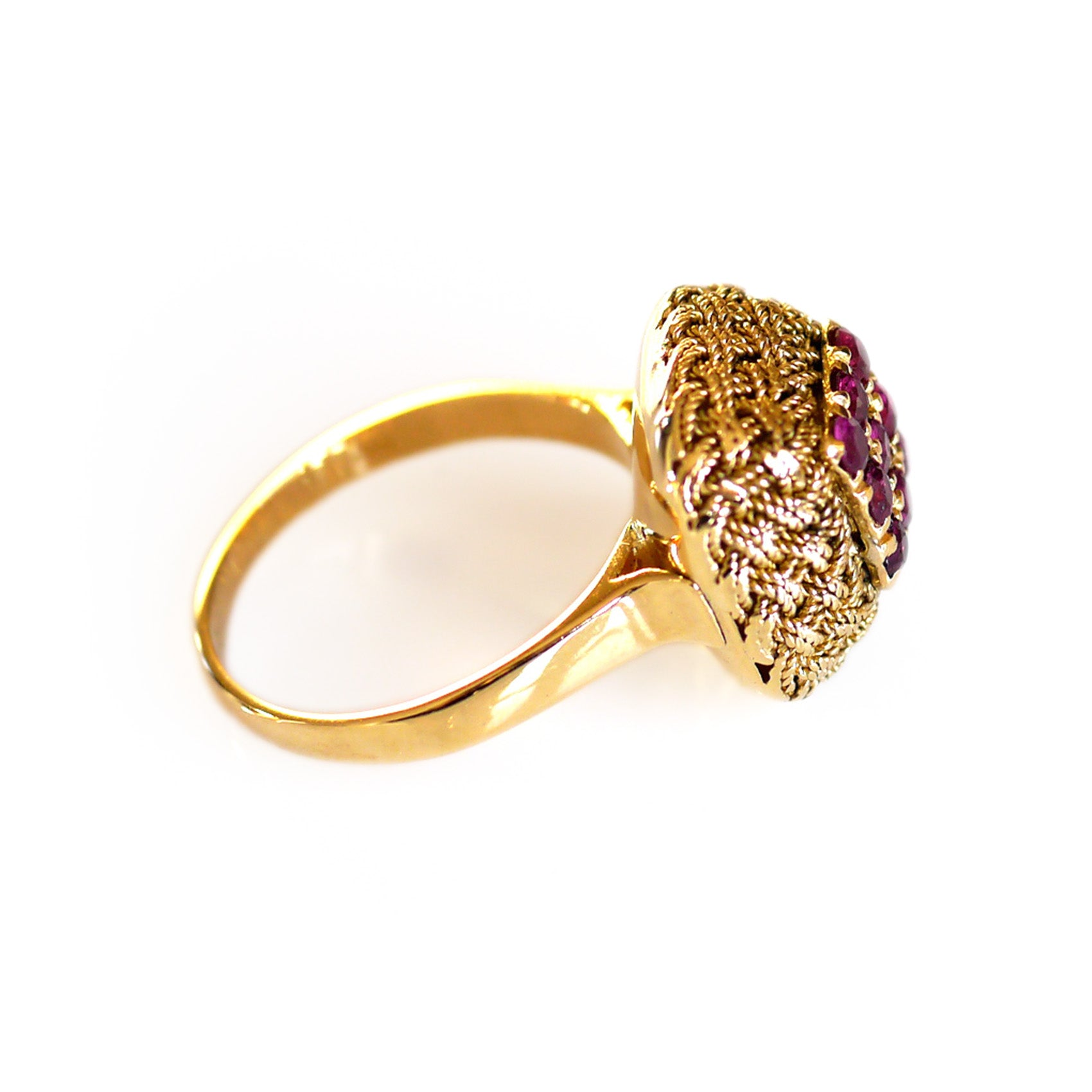 Vintage Ruby Gold Rope Ring