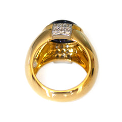 Vintage Gold Kria Diamond & Iolite Cabochon Ring
