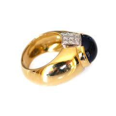 Vintage Kria Diamond & Iolite Cabochon Gold Ring