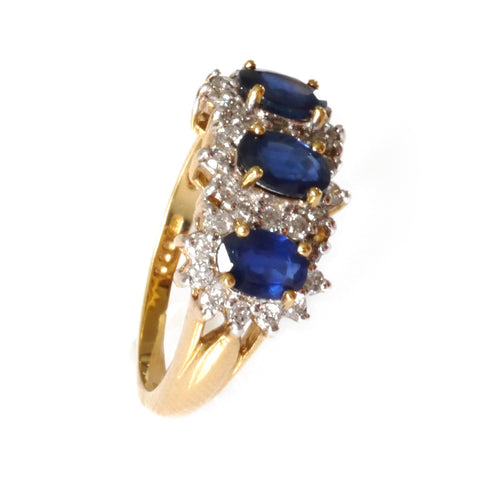 Classic Elegance Vintage Three Oval Sapphire and Diamond Ring