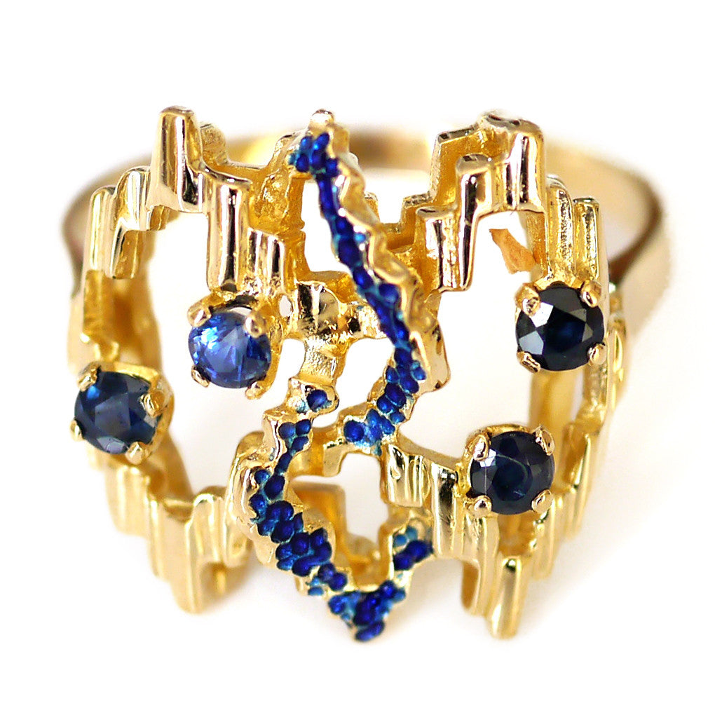 Vintage Avant-Garde Sapphire and Enamel Gold Ring