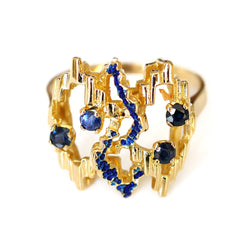 Avant-Garde Sapphire and Enamel Gold Ring