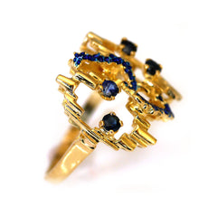 Vintage Sapphire and Enamel Gold Ring