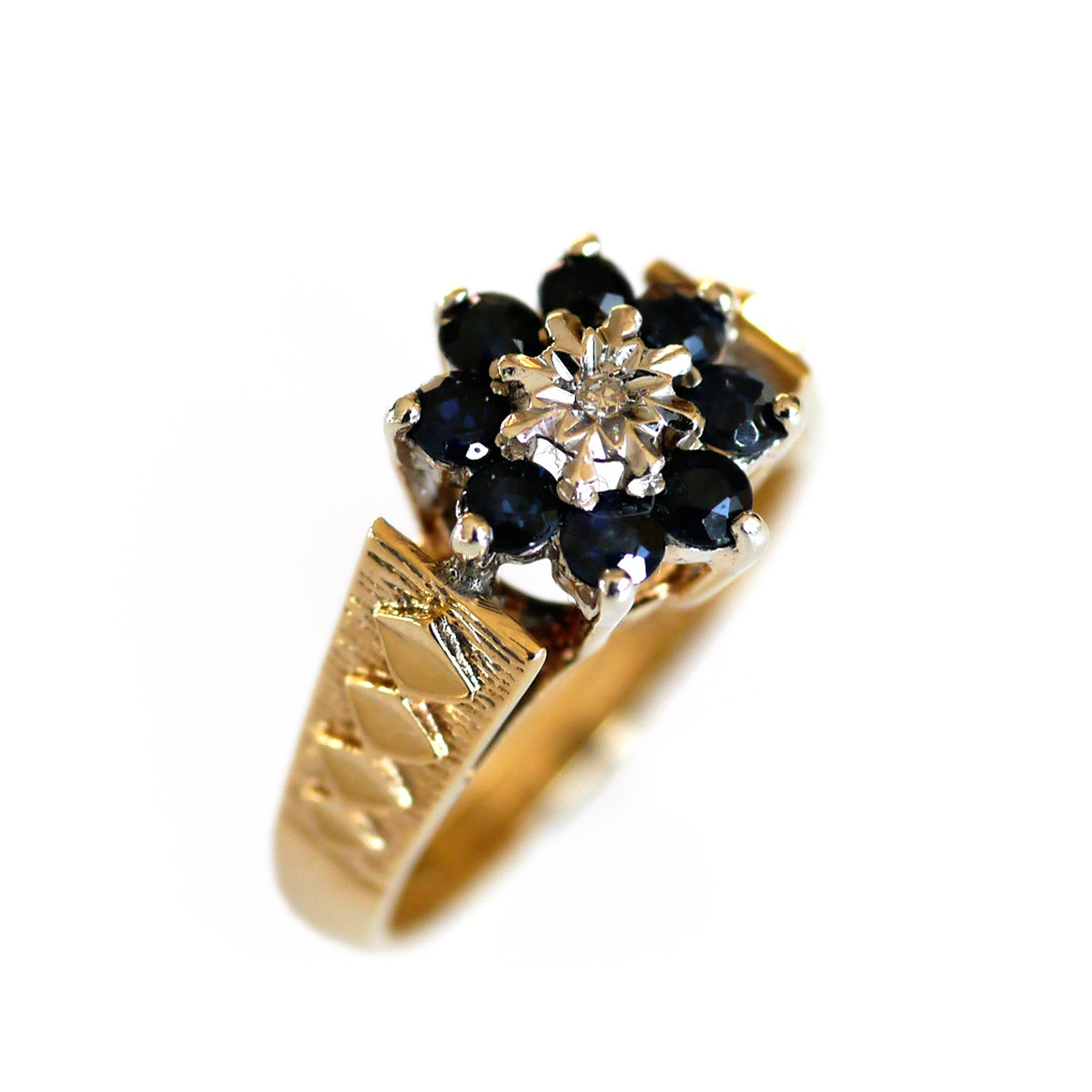 Dazzling Diamond and Sapphire 1970s Ring