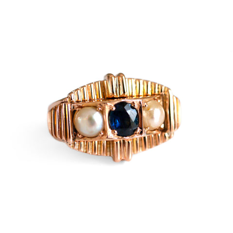 Vintage Sapphire & Pearl Modernist Ring