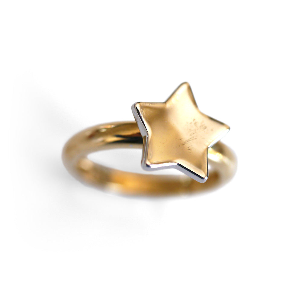 Cute Vintage Gold Star Dress Ring