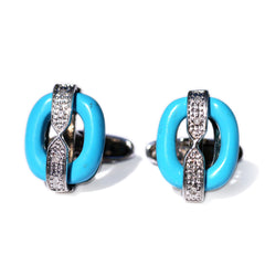 Silver Linings: Turquoise & Pave Diamond Oval Cufflinks