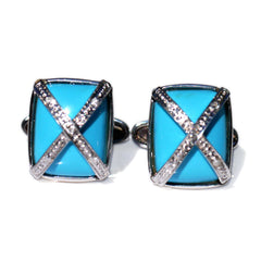 Silver Linings: Turquoise & Pave Diamond Cufflinks