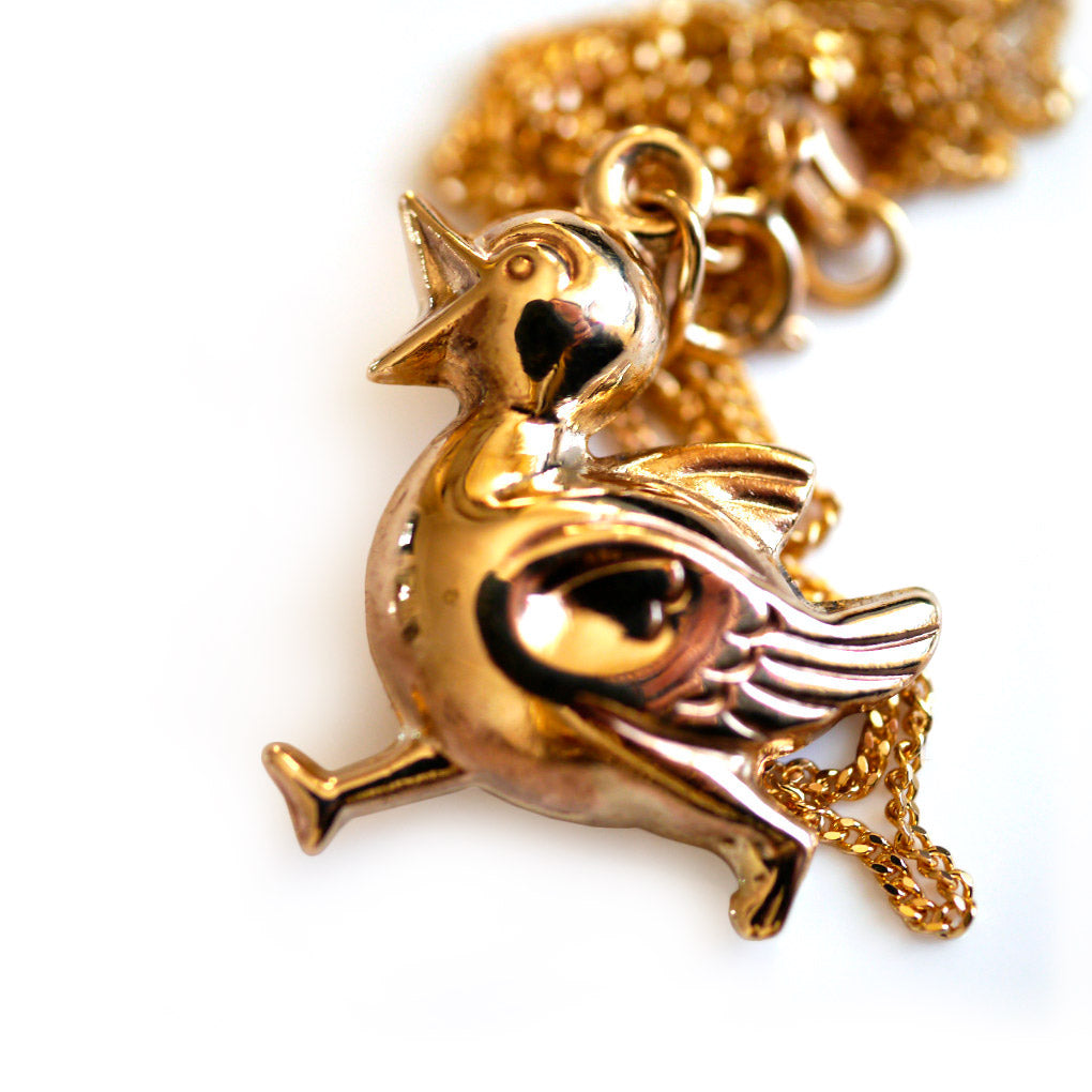 Gold Glorious Gold: 1970s Duck Pendant