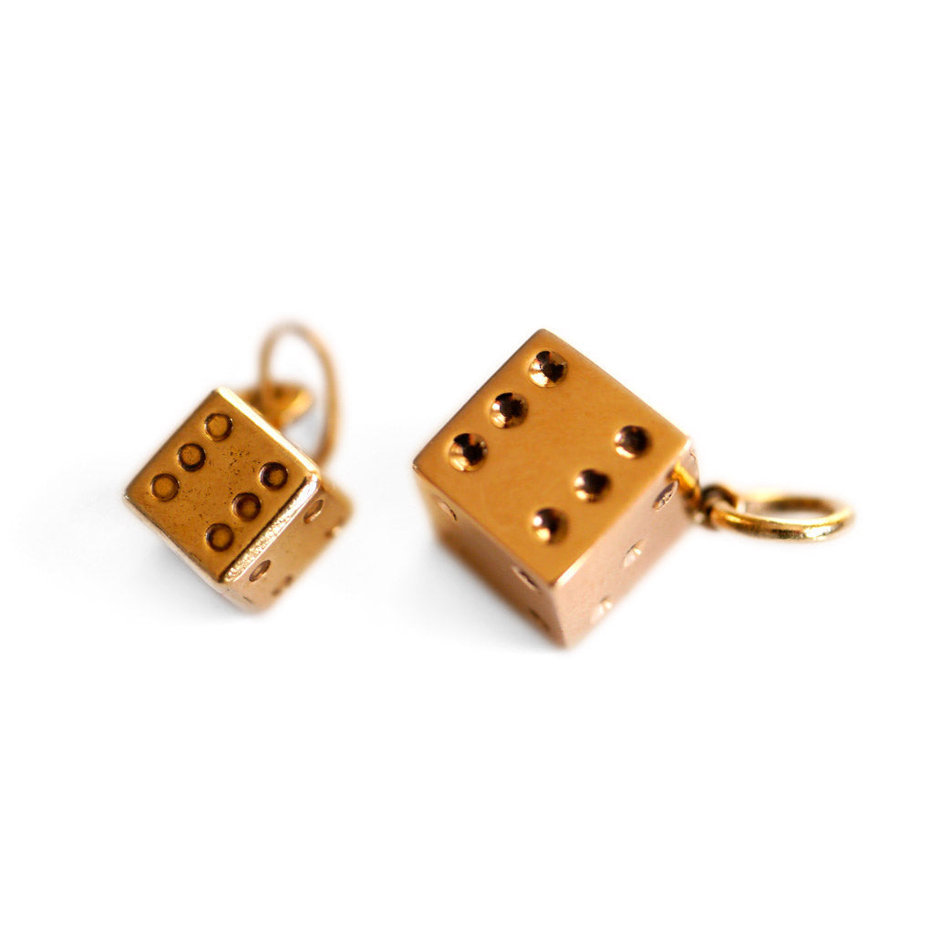 Tiny Dice Gold Vintage Charms