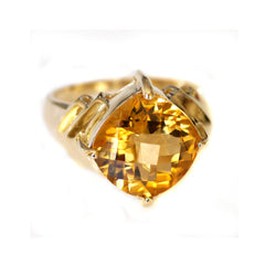 Vintage Citrine Commanding Solitaire Ring