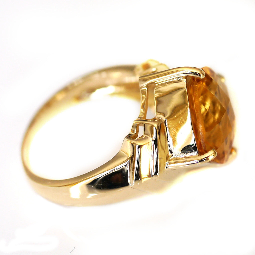 Citrine Commanding Solitaire Vintage Ring