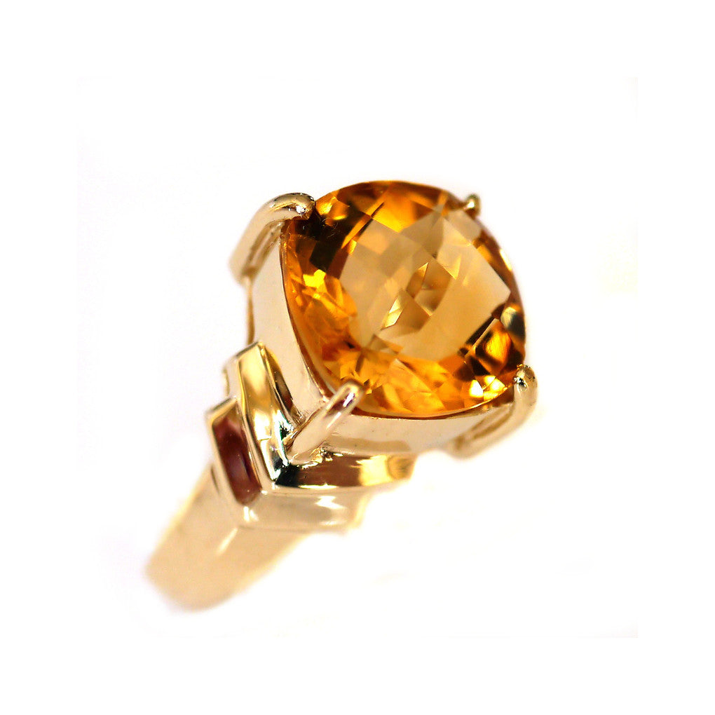 Vintage Citrine Solitaire Ring